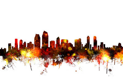 Digital Art - San Diego California Skyline by Michael Tompsett