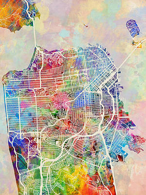 San Francisco City Street Map Art Print by Michael Tompsett