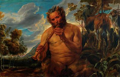 Satyr Painting - Satyr Playing The Pipe by Jacob Jordaens