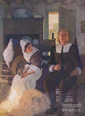 Scene From The Courtship Of Miles Standish Art Print by Newell Convers Wyeth