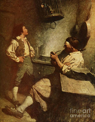 Interior Scene Drawing - Scene From Treasure Island by Newell Convers Wyeth