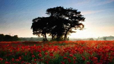 Autumn Digital Art - Scenery Oil Paintings On Canvas by Malinda Spaulding