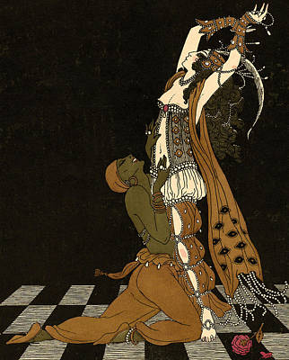 Checkered Drawing - Scheherazade by Georges Barbier