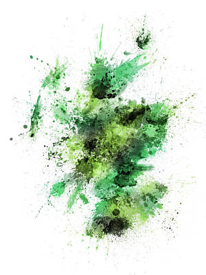 Digital Art - Scotland Paint Splashes Map by Michael Tompsett