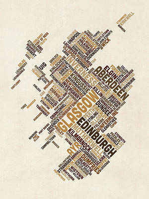 Great Britain Digital Art - Scotland Typography Text Map by Michael Tompsett