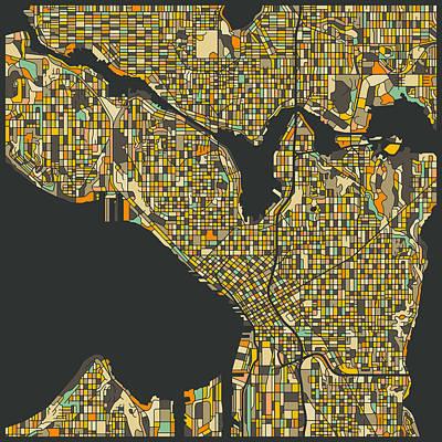 Seattle Digital Art - Seattle Map by Jazzberry Blue