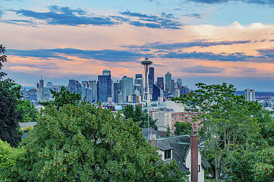 Outerspace Patenets Rights Managed Images - Seattle Skyline at Sunset Royalty-Free Image by Cityscape Photography