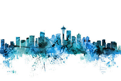 Seattle Washington Skyline Print by Michael Tompsett