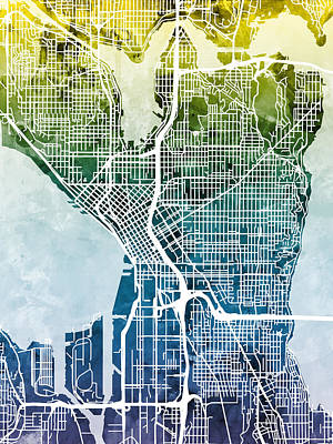 Urban Street Digital Art - Seattle Washington Street Map by Michael Tompsett