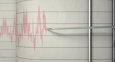 Earthquake Digital Art - Seismograph Earthquake Activity by Allan Swart
