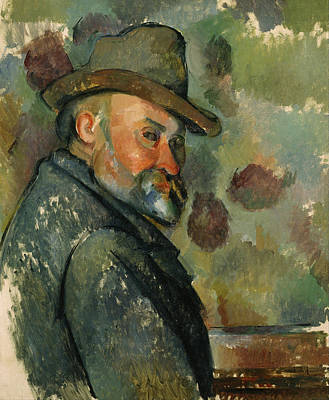 Self Shot Painting - Self-portrait With A Hat by Paul Cezanne