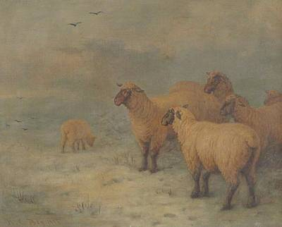 Sheep On Moorland Art Print by Henry Charles