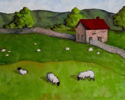 3 Sheep On The Farm Art Print by Amy Higgins