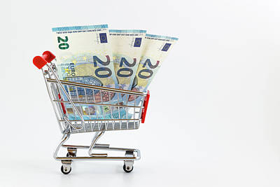 Shopping Cart With Euro Banknotes Art Print