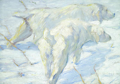 Dogs In Snow Painting - Siberian Dogs In The Snow by Franz Marc