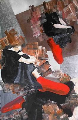 3 Siluets In Red Socks Art Print by Evguenia Men