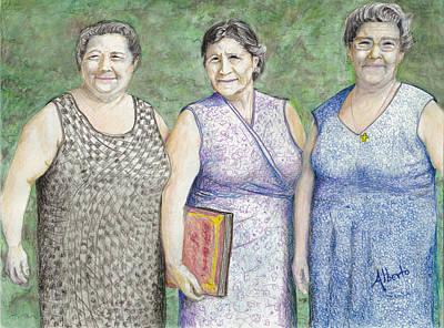 Art Print featuring the drawing 3 Sisters by Albert Puskaric