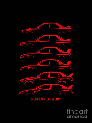 Subaru Impreza Digital Art - Six Stars Silhouettehistory by Gabor Vida