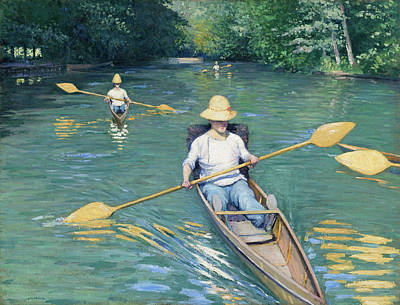 Row Painting - Skiffs by Gustave Caillebotte