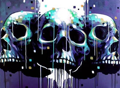 Drips Painting - 3 Skulls by Jeremy Scott