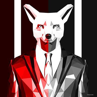 Fox Digital Art - Sly Fox by Gallini Design
