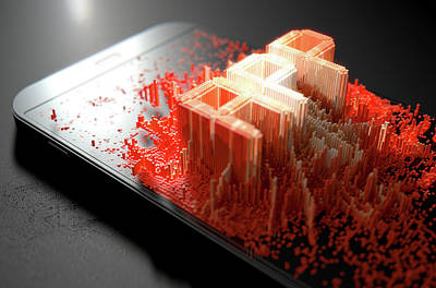 Smart Phone Emanating App Art Print by Allan Swart