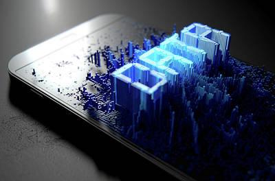 Smart Phone Emanating Data Art Print by Allan Swart