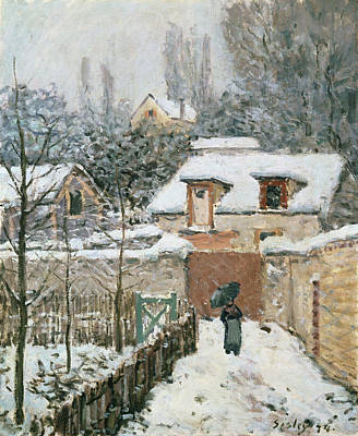 Umbrella Painting - Snow At Louveciennes by Alfred Sisley
