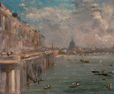 British Painting - Somerset House Terrace From Waterloo Bridge by John Constable