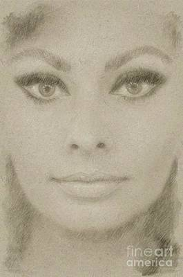 John Wayne Drawing - Sophia Loren Hollywood Actress by Frank Falcon