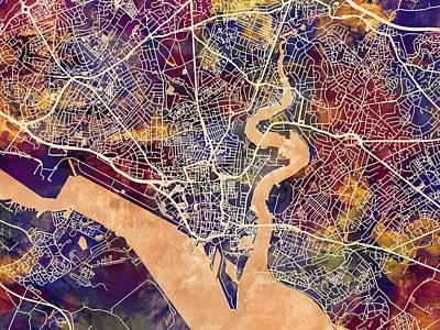England Digital Art - Southampton England City Map by Michael Tompsett