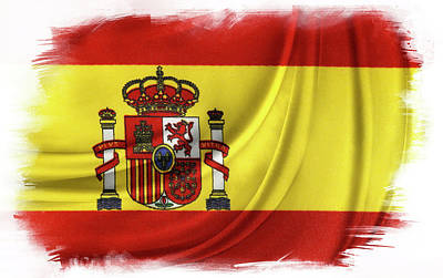 Painted Details Digital Art - Spanish Flag by Les Cunliffe