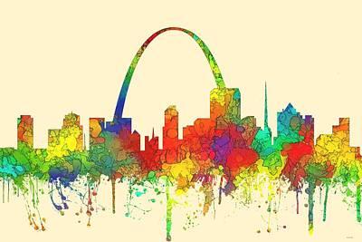 St Louis Missouri Skyline Art Print by Marlene Watson