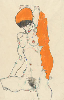 Schiele Drawing - Standing Nude With Orange Drapery by Egon Schiele