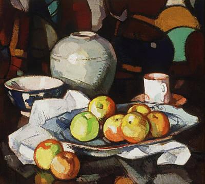 Painting - Still Life - Apples And Jar by Samuel Peploe