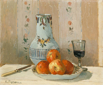 Still Life With Pitcher Painting - Still Life With Apples And Pitcher by Camille Pissarro