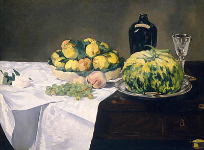 Melon Painting - Still Life With Melon And Peaches by Edouard Manet