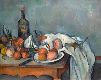 Onion Painting - Still Life With Onions  by Paul Cezanne