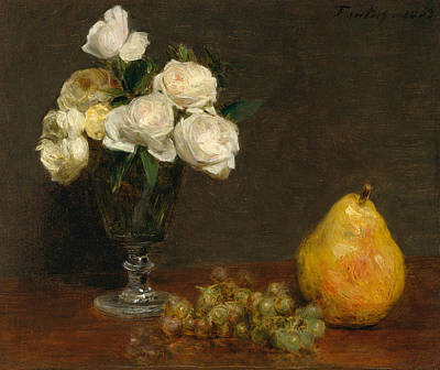 Painting - Still Life With Roses And Fruit by Henri Fantin-Latou