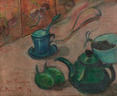 Teapot Painting - Still Life With Teapot, Cup And Fruit by Emile Bernard