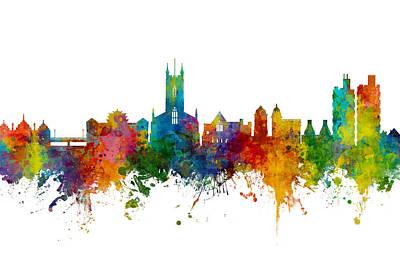 Digital Art - Stoke-on-trent England Skyline by Michael Tompsett