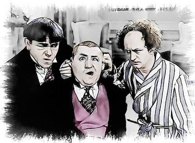 3 Stooges Can You Hear Me Now Art Print by Dwayne  Graham