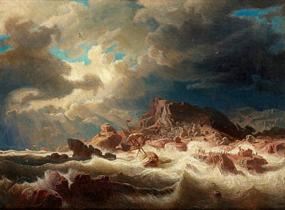Larson Painting - Stormy Sea With Ship Wreck by MotionAge Designs