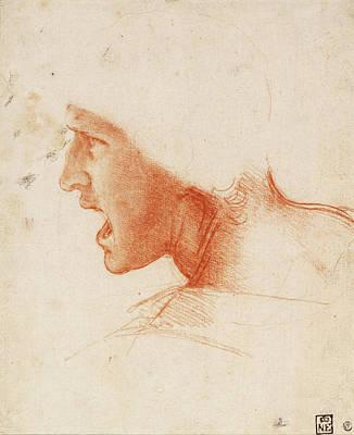 Closeup Drawing - Study Of A Warrior's Head For The Battle Of Anghiari by Leonardo da Vinci