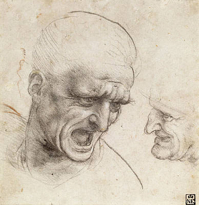 Da Vinci Drawing - Study Of Two Warriors' Heads For The Battle Of Anghiari by Leonardo da Vinci