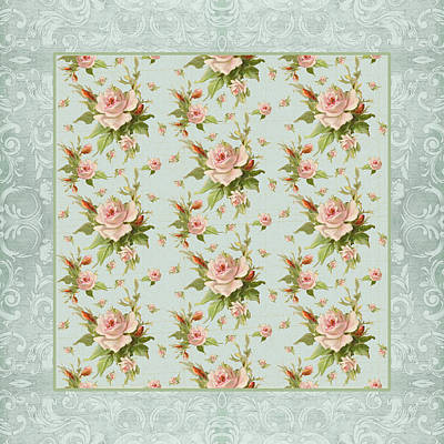 Victorian Mixed Media - Summer At Cape May - Aged Modern Roses Pattern by Audrey Jeanne Roberts