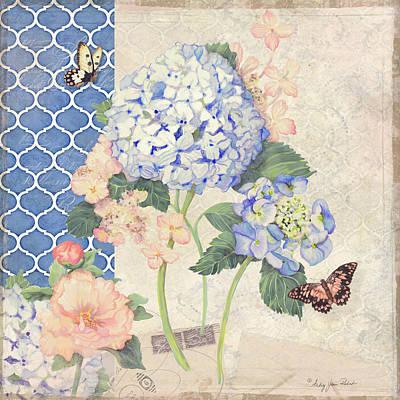 Painting - Summer Memories - Blue Hydrangea N Butterflies by Audrey Jeanne Roberts