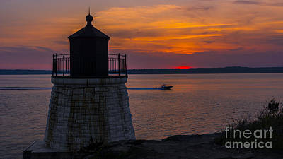 Winter Animals Royalty Free Images - Sunset from Castle Hill Lighthouse. Royalty-Free Image by New England Photography