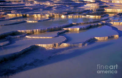 Tourist Attraction Digital Art - Sunset Over The Famous 'cotton Castle' Pools Of Pamukkale by Sami Sarkis