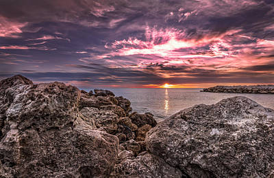 Photograph - Sunst Over The Ocean by Peter Lakomy